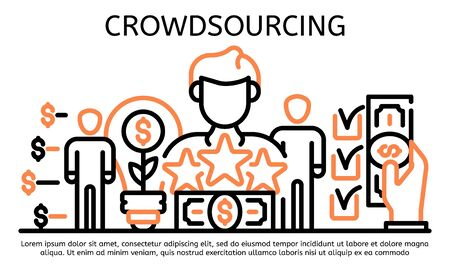 Crowdsourcing banner, outline style Vetores