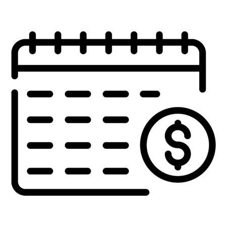 Money account calendar icon. Outline money account calendar vector icon for web design isolated on white background Foto de archivo - 130249416