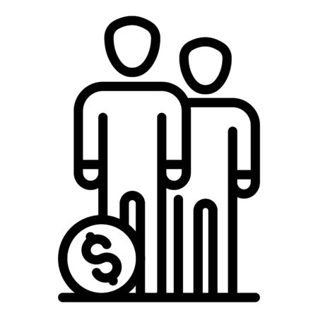 People group money budget icon. Outline people group money budget vector icon for web design isolated on white background