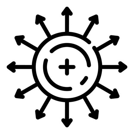 Direction of electron motion icon, outline style