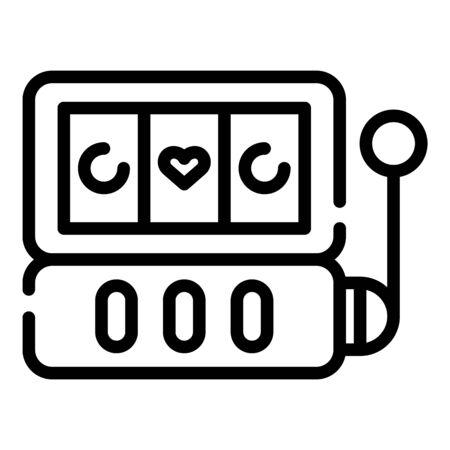 Casino slot addiction icon. Outline casino slot addiction vector icon for web design isolated on white background