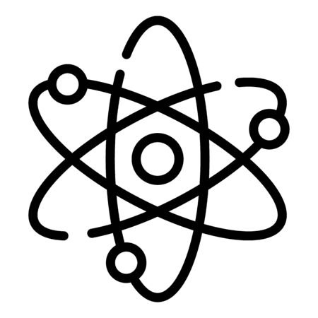 Atom and electrons icon. Outline atom and electrons vector icon for web design isolated on white background
