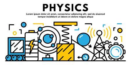 Bannière de physique, style de contour Vecteurs