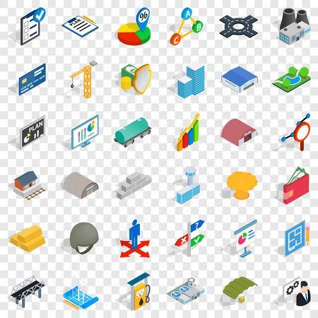 Right choice icons set, isometric style Illustration