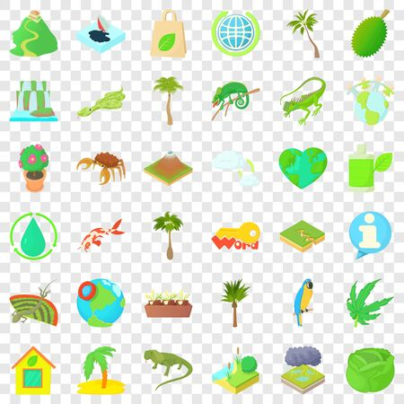 Leaf icons set, cartoon style
