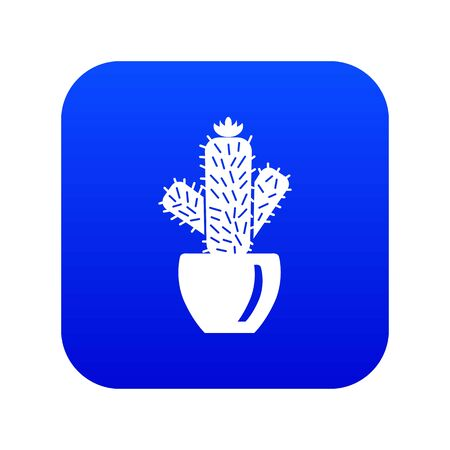 Needle cactus icon blue vector