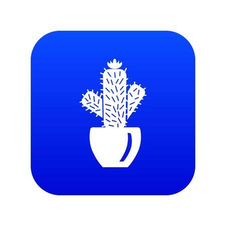 Needle cactus icon blue vector