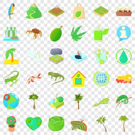 Recycling icons set, cartoon style 일러스트