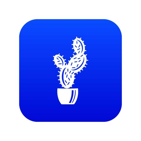 Spike cactus icon blue vector Illustration