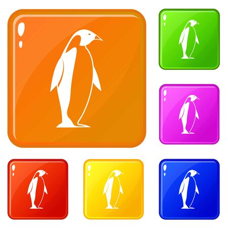 King penguin icons set collection vector 6 color isolated on white background