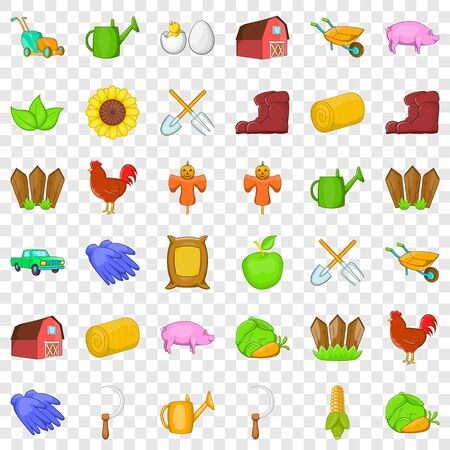 Fence icons set, cartoon style