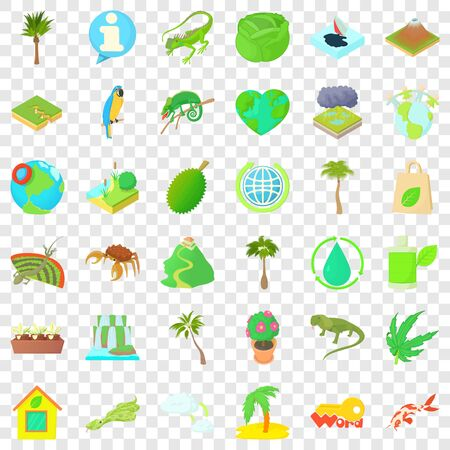 Earth icons set, cartoon style