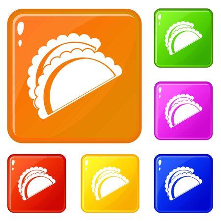 Empanadas de pollo icons set collection vector 6 color isolated on white background 向量圖像