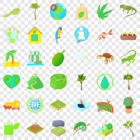Grass icons set, cartoon style