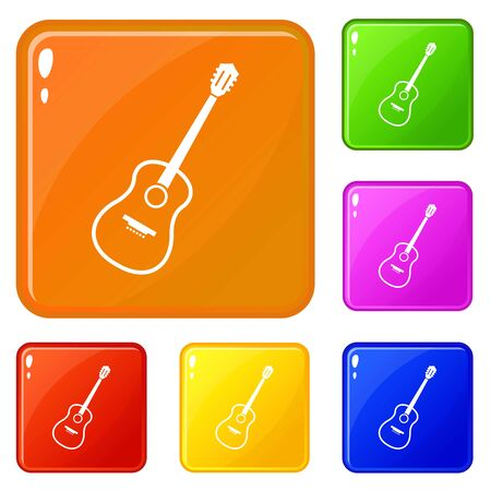 Charango icons set collection vector 6 color isolated on white background