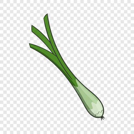 Green onion icon, cartoon style