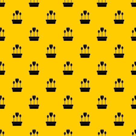 Tulips in box pattern seamless vector repeat geometric yellow for any design