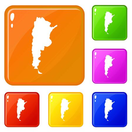 Map of Argentina icons set collection vector 6 color isolated on white background