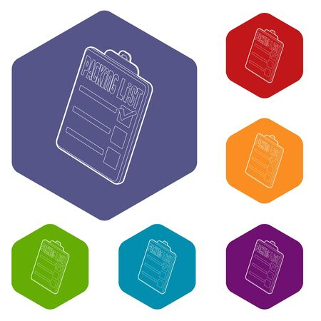 Clipboard with packing list icons vector colorful hexahedron set collection isolated on white