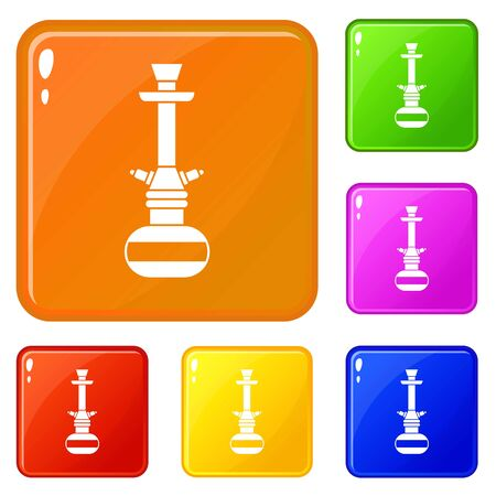 Arabic hookah icons set collection vector 6 color isolated on white background 向量圖像