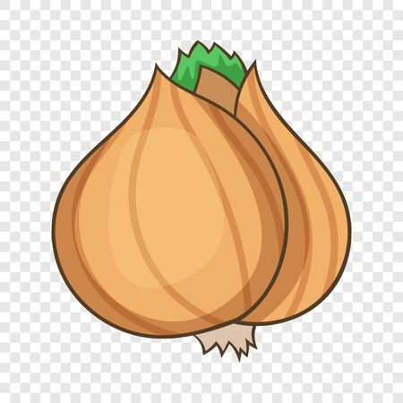 Whole bulb brown onion icon, cartoon style