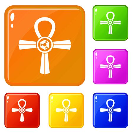 Egypt Ankh symbol icons set collection vector 6 color isolated on white background