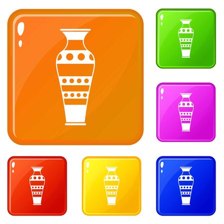 Egyptian vase icons set collection vector 6 color isolated on white background Stock Illustratie