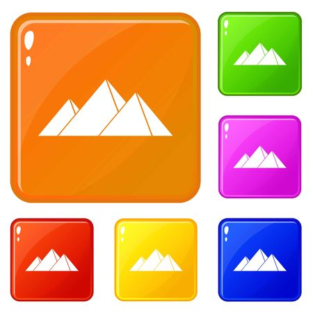 Pyramids in Giza icons set vector color