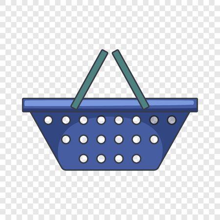 Blue shopping basket icon. Cartoon illustration of blue shopping basket vector icon for web design