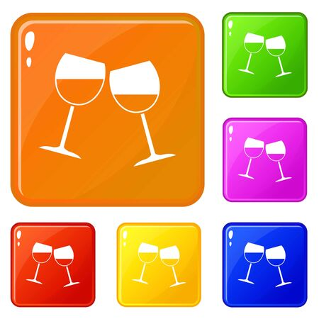Two wine glasses icons set collection vector 6 color isolated on white background Illustration