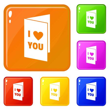 Happy Valentines day or weeding card icons set collection vector 6 color isolated on white background Ilustração Vetorial