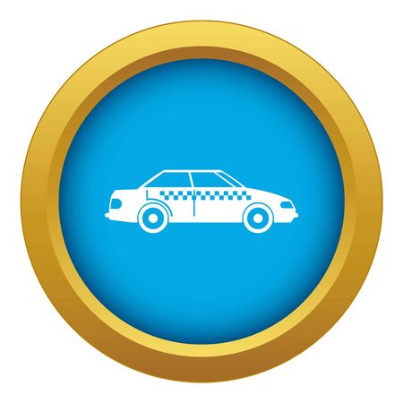 Taxi icon blue vector isolated on white background for any design