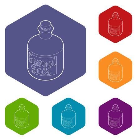 Ethanol in bottle icons vector colorful hexahedron set collection isolated on white