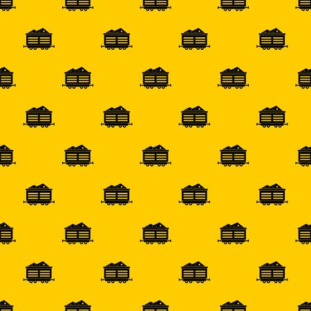 Train waggon with coal pattern seamless vector repeat geometric yellow for any design