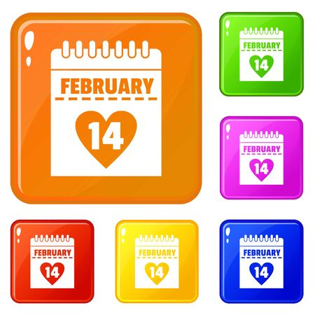 Valentines day calendar icons set collection vector 6 color isolated on white background Foto de archivo - 130249837