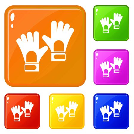 Gloves of goalkeeper icons set collection vector 6 color isolated on white background Stock Illustratie