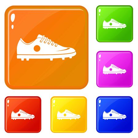 Soccer shoe icons set collection vector 6 color isolated on white background