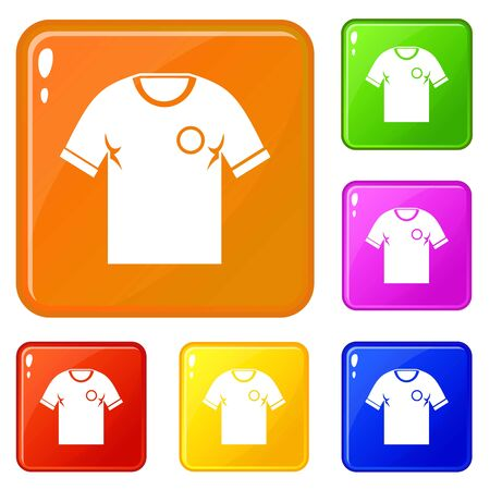 Soccer shirt icons set collection vector 6 color isolated on white background Banque d'images - 130249909