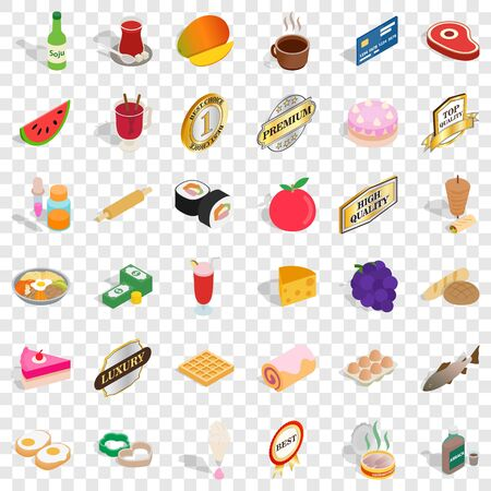Meat icons set. Isometric style of 36 meat vector icons for web for any design 向量圖像