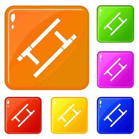 Tonfa icons set collection vector 6 color isolated on white background  イラスト・ベクター素材