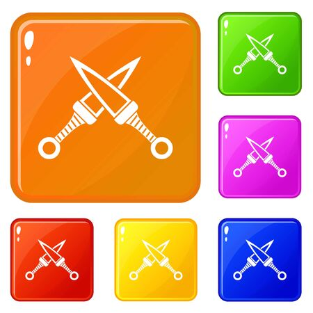 Crossed japanese daggers icons set vector color Illustration