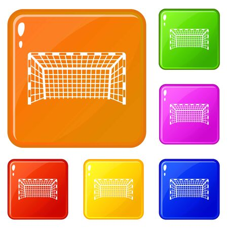 Goal post icons set collection vector 6 color isolated on white background Banque d'images - 130250008