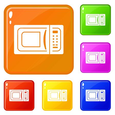 Microwave icons set color