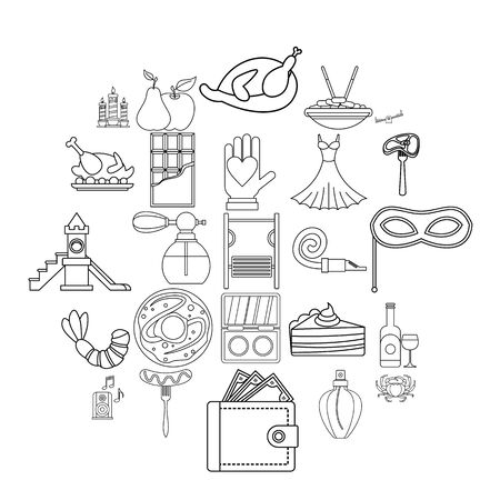 Evening gown icons set, outline style