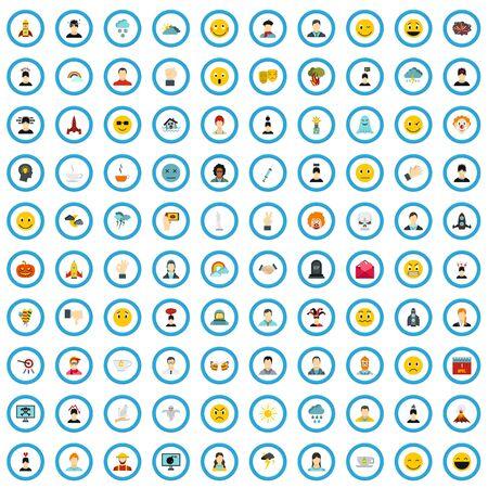 100 feeling icons set, flat style