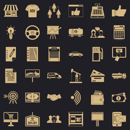 Finance business icons set, simple style
