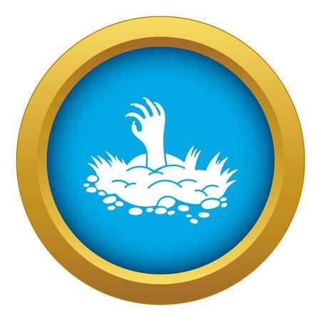 Zombie ground hand icon blue isolated 写真素材
