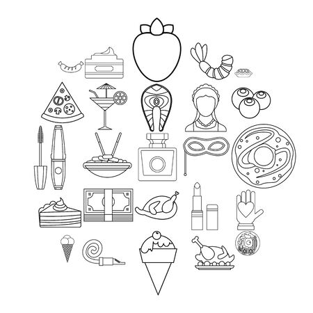 Masquerade ball icons set, outline style