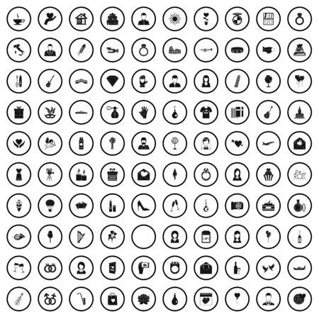 100 wedding icons set, simple style Фото со стока