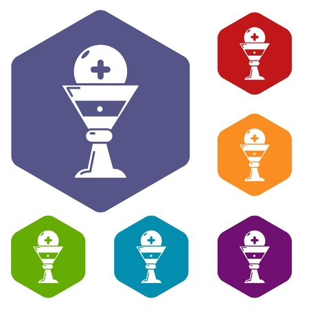 Church goblet glyph icons hexahedron